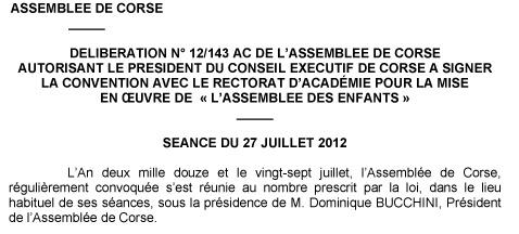 Délibération de l'Assemblée de Corse