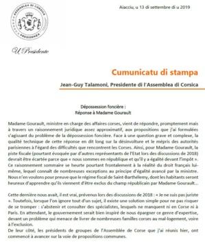 Communiqué de presse - Dépossession foncière : réponse à Madame Gourault