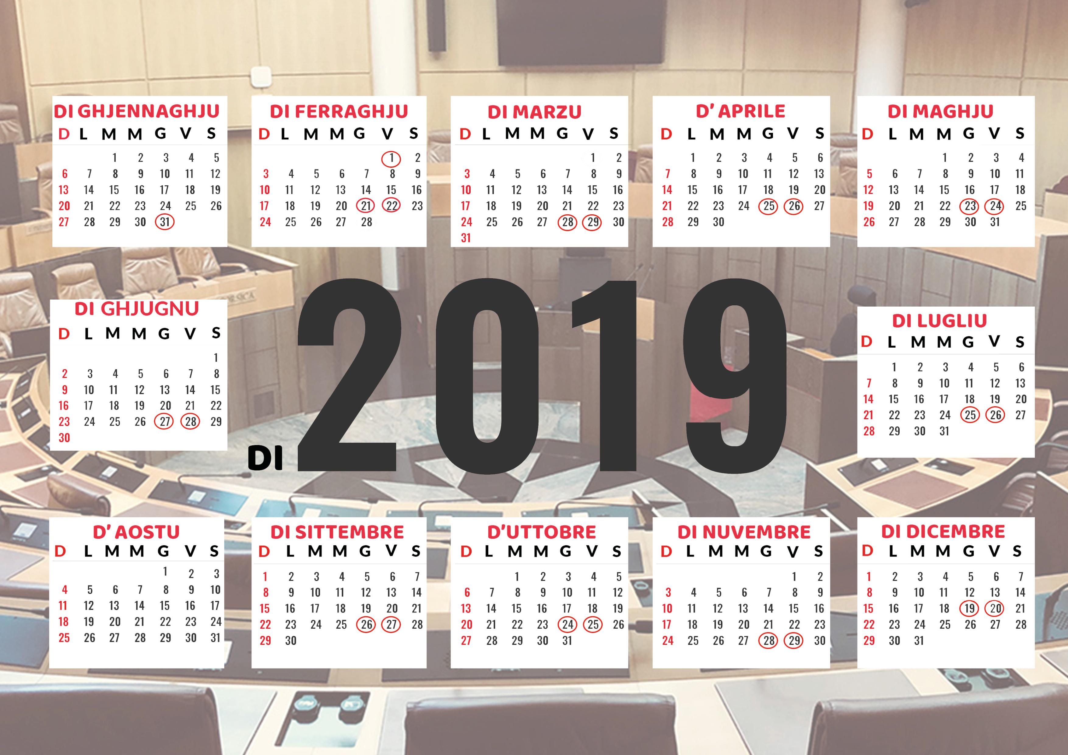 Calendrier prévisionnel des séances publiques de l'Assemblée de Corse - 2019