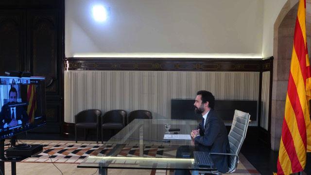 Le Président Roger Torrent lors de la conférence. @photo parlament.cat