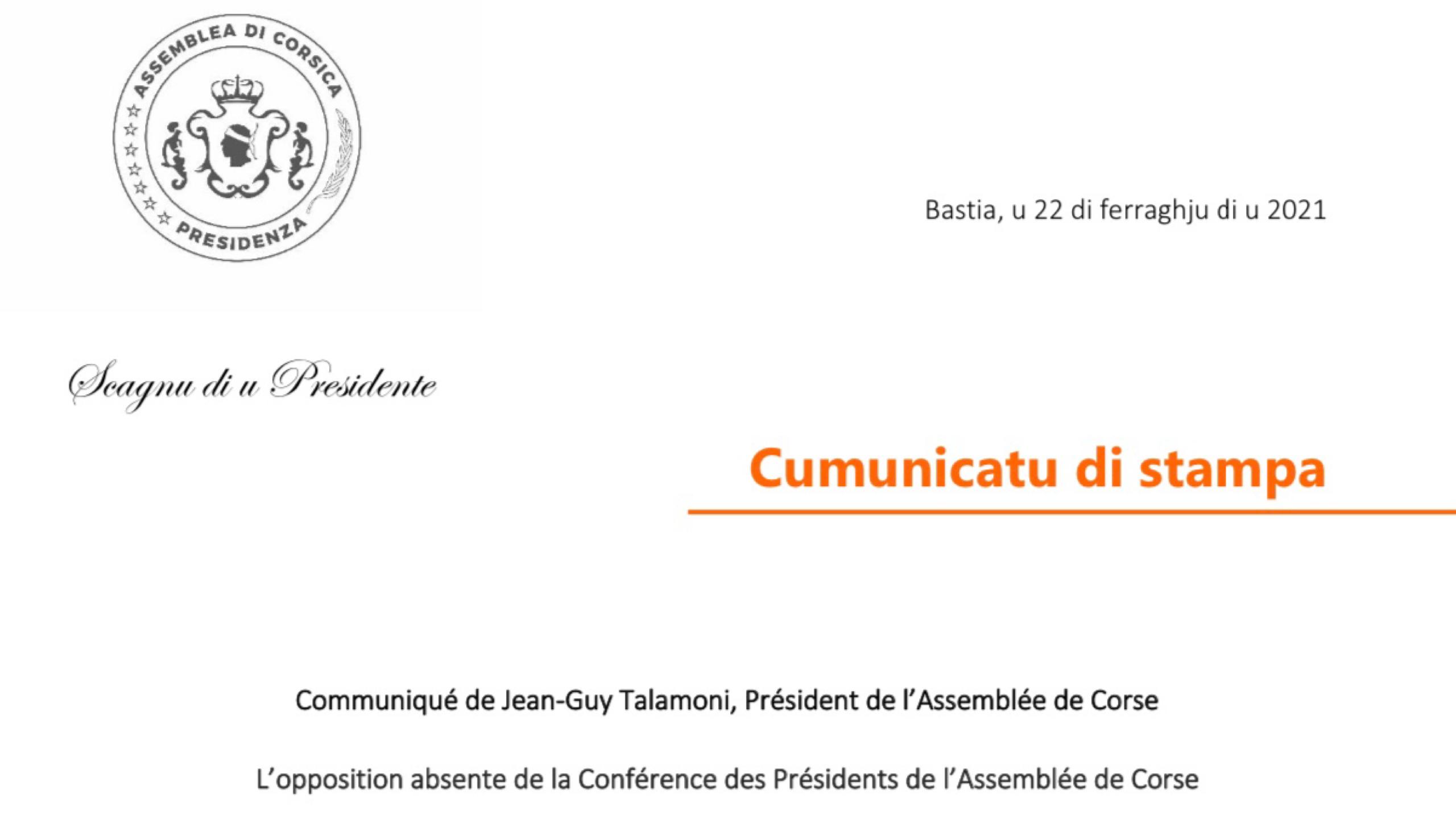 L'opposition absente de la Conférence des Présidents de l'Assemblée de Corse