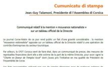 Communiqué : Mention « mouvance nationaliste » sur un tableau officiel de la Direccte