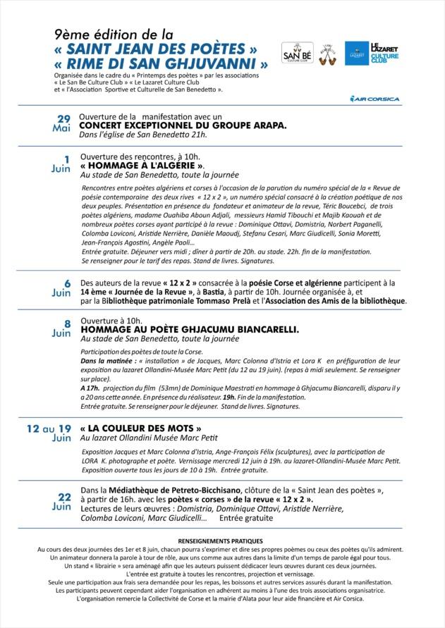 9ème édition de la « SAINT JEAN DES POÈTES » « RIME DI SAN GHJUVANNI »