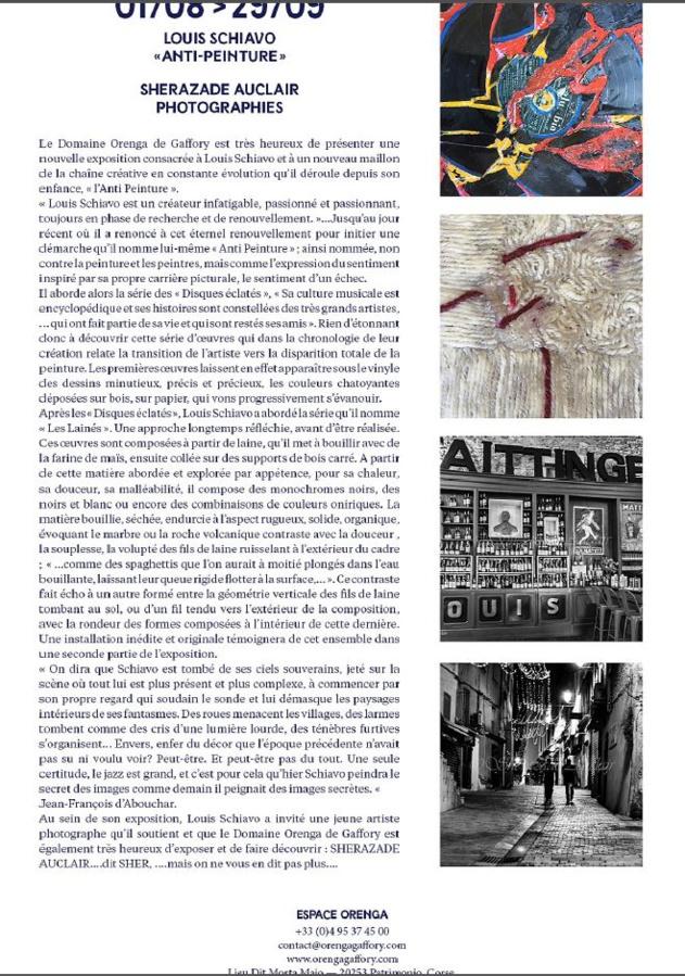 Exposition consacrée à Louis Schiavo et Sherazade Auclair