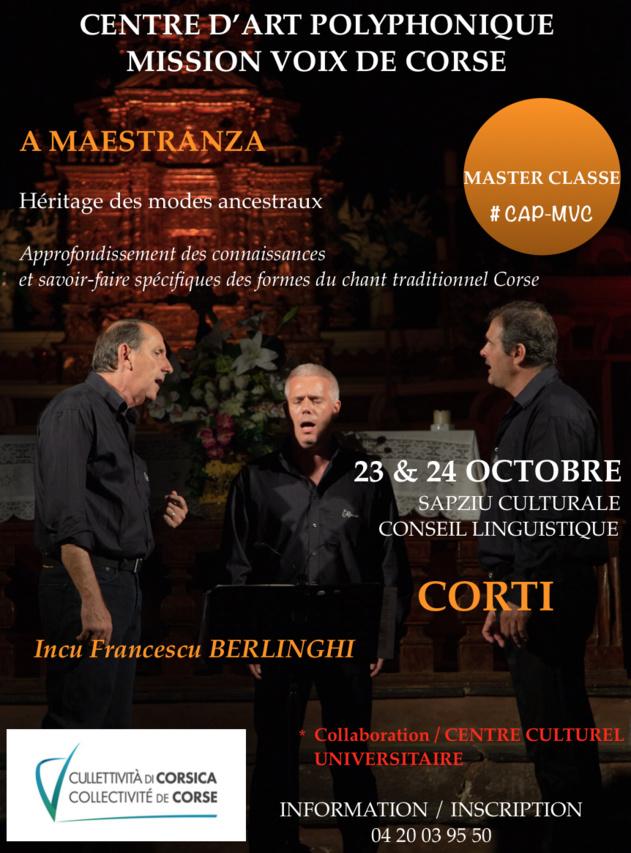 """Master Class avec François Berlinghi proposée par le Centre d'Art Polyphonique """"Mission Voix de Corse"""""""