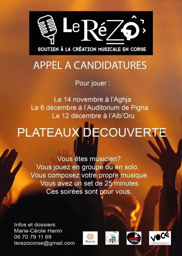 Appel à candidature pour participee aux soirées découverte Rézo à L'Aghja et à l'Auditorium de Pigna