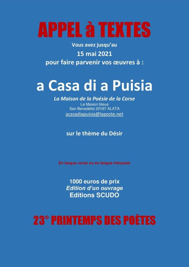 Appel à textes proposé par A Casa di a Puisia