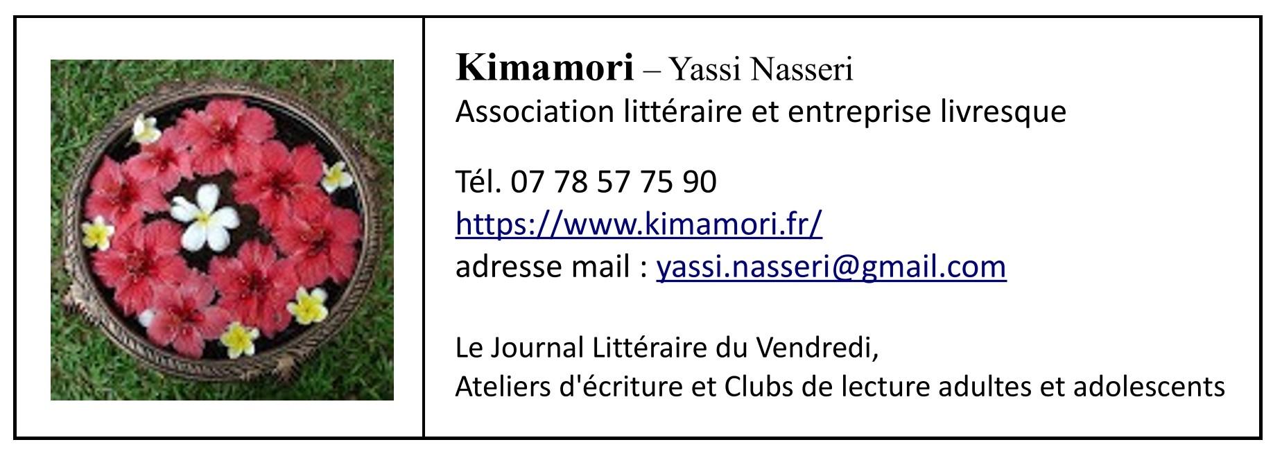 Programmation des ateliers d'écriture et clubs de lecture animés par Kimamori