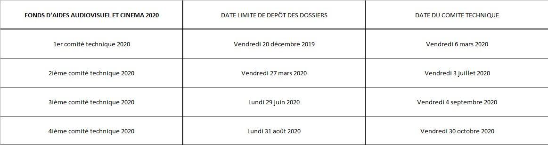 Planning des Comités Cinéma et Audiovisuel - 2020