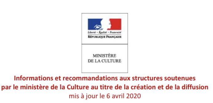 Informations et recommandations aux structures soutenues par le ministère de la Culture au titre de la création et de la diffusion