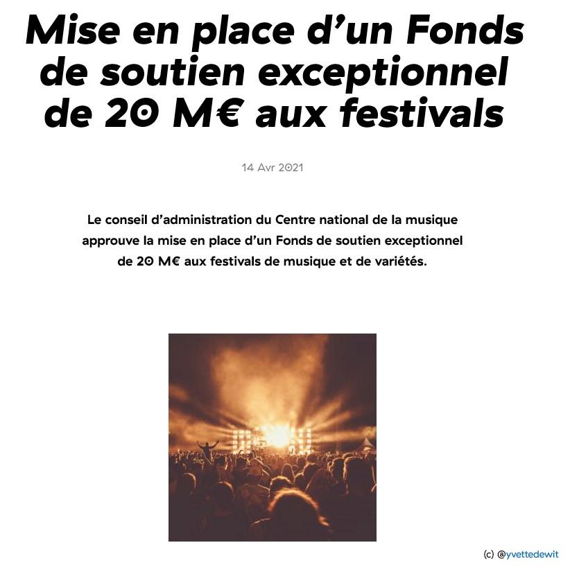 Mise en place d'un Fonds de soutien exceptionnel de 20 M€ aux festivals