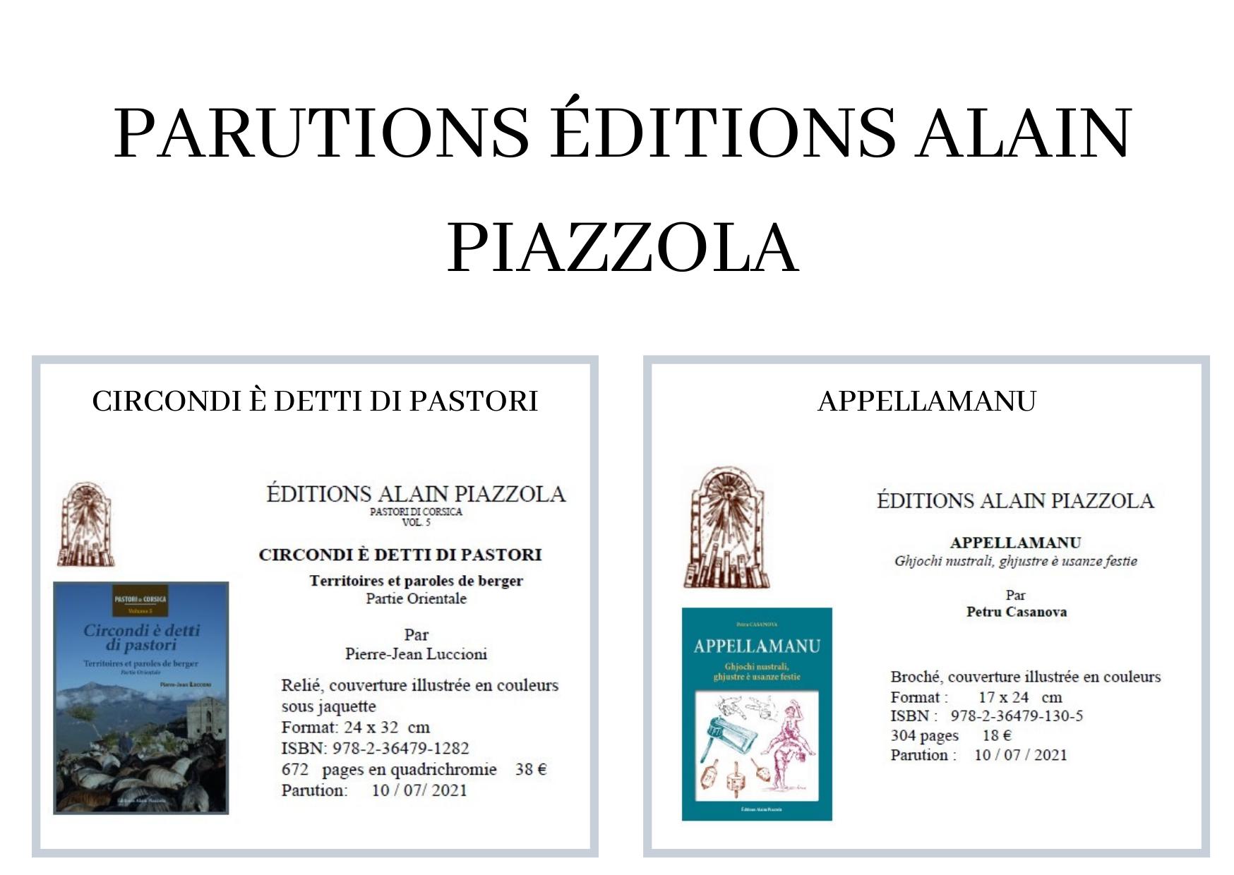Nouveautés des Éditions Piazzola