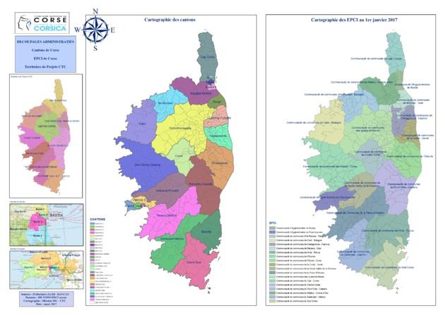 Territoires de projets, Cantons, EPCI de Corse