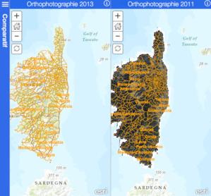 Application permettant la comparaison simultanée des photos aériennes de 2011 et 2013