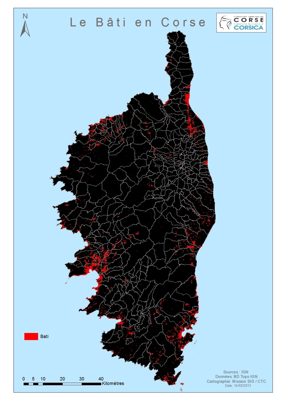 Répartition du Bati en Corse