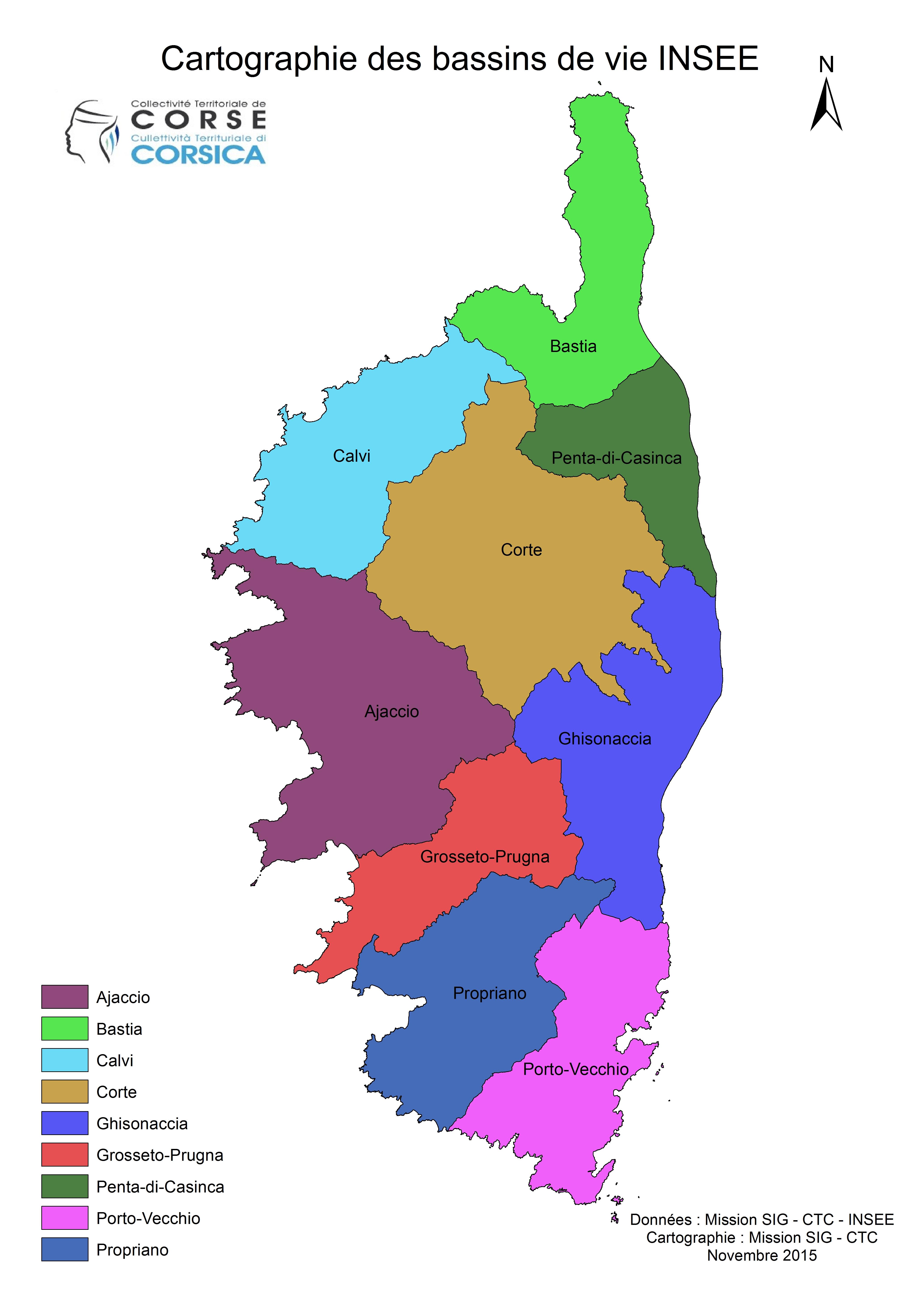 Cartographie des bassins de vie INSEE