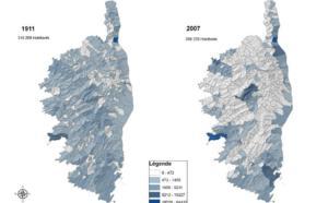 Evolution de la répartition des populations en Corse
