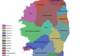 Cartographie des 26 cantons de la Corse