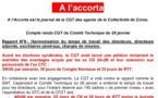 Communiqué de la CGT : compte rendu du comité technique du 28 janvier