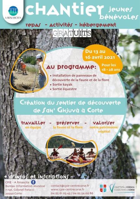 Chantier de Jeunes Bénévoles « Création du sentier de découverte de San' Ghjuvà » à Corti