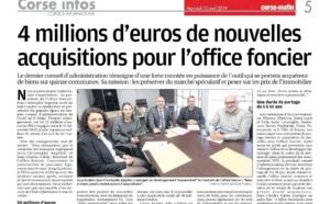 """Corse Matin : """" 4 millions d'euros de nouvelles acquisitions pour l'Office Foncier"""""""