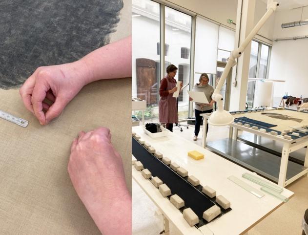 Figure 4. Détail du traitement des lacunes par des points de restauration. Figure 5. Céline Wallut et Valérie Marcelli durant le traitement de conservation-restauration