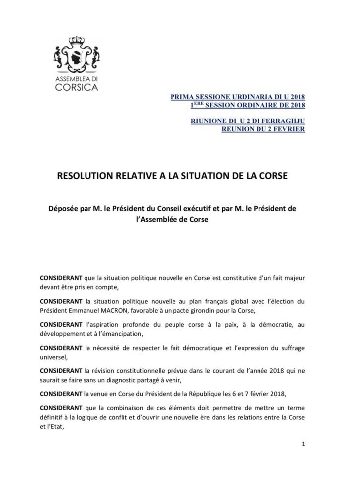 Siduta publica di l'Assemblea di Corsica u 2 di frivaghju di u 2018 - les délibérations sont en ligne