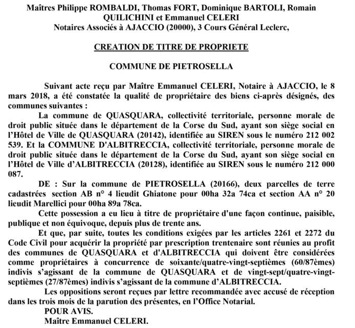 Avis de création de titre de propriété - commune de Pietrosella (Corse du Sud)