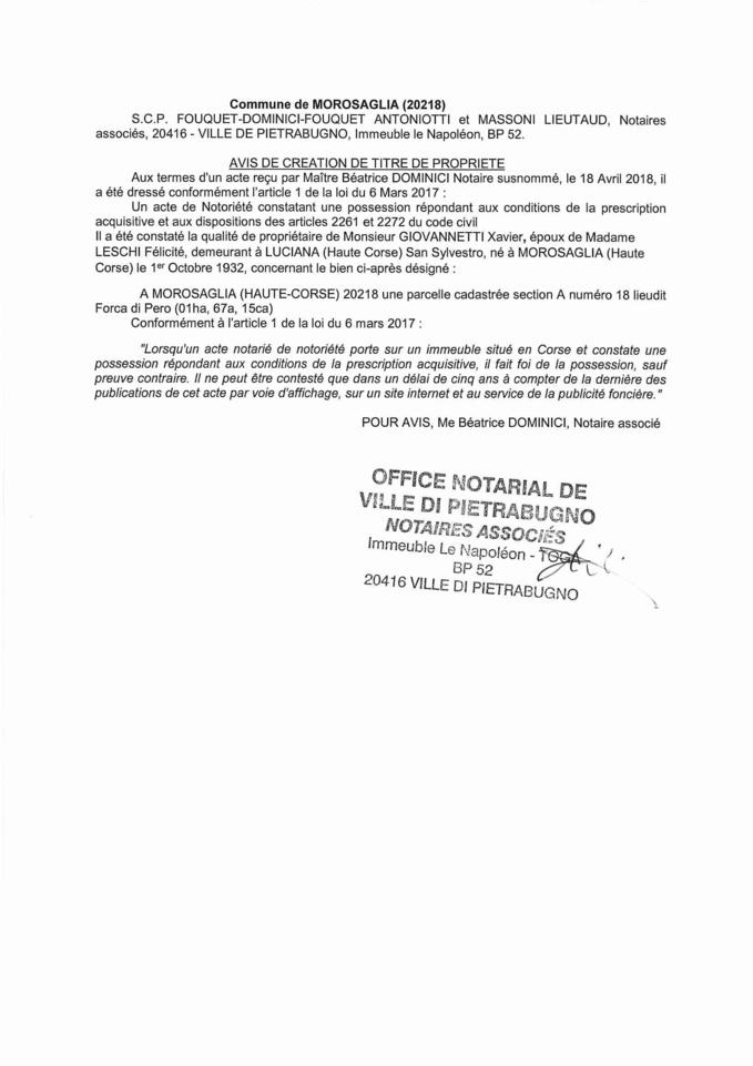 Avis de création de titre de propriété - commune de Morosaglia (Haute-Corse)