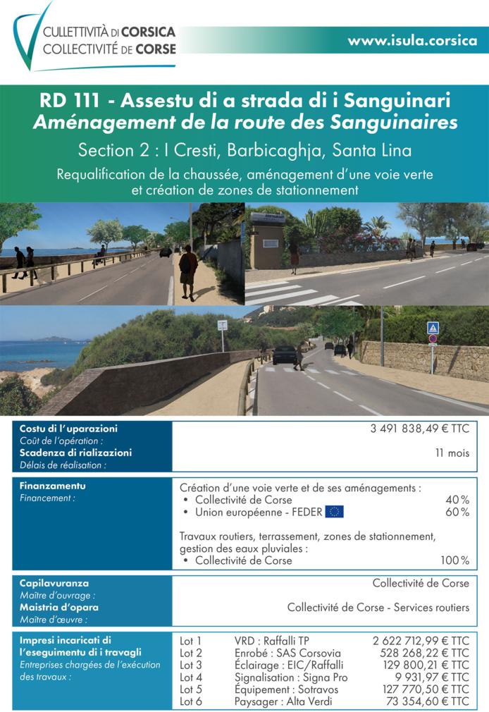 RD111 - Travaux routiers sur la route des Sanguinaires à Aiacciu : point et état d'avancement du chantier