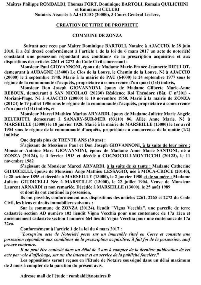 Avis de création de titre de propriété - commune de Zonza (Corse du Sud)