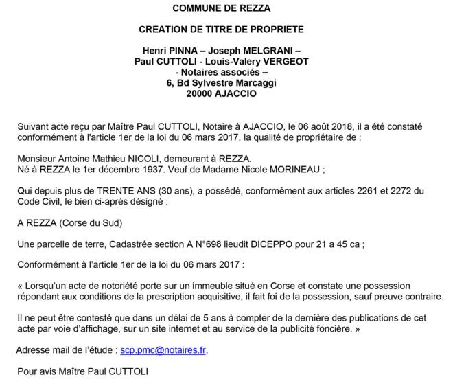 Avis de création de titre de propriété - commune de Rezza (Corse du Sud)