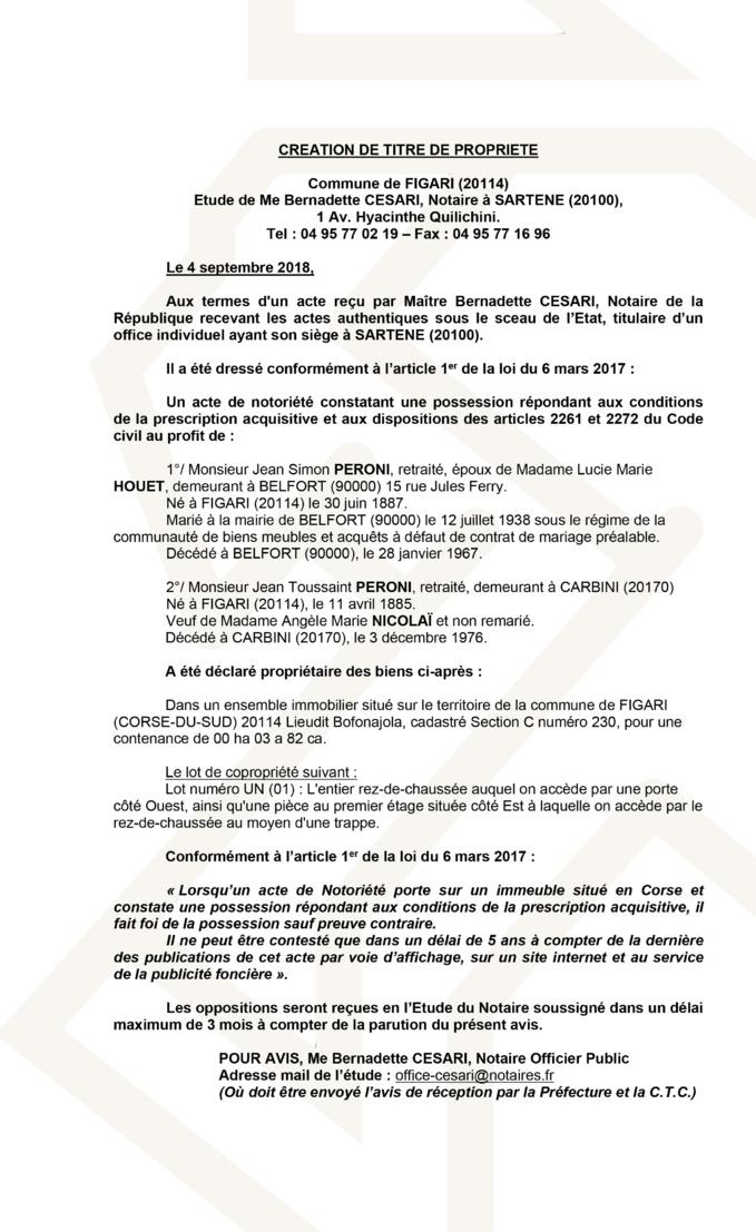 Avis de création de titre de propriété - commune de Figari (Corse du Sud)