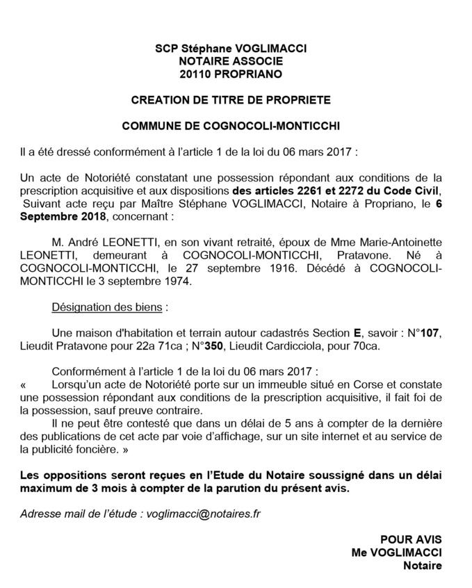 Avis de création de titre de propriété - commune de Cognocoli-Monticchi (Corse du Sud)