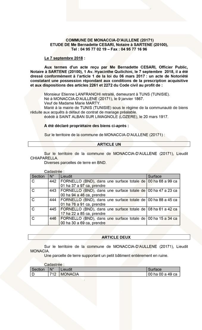 Avis de création de titre de propriété - commune de Monaccia-d'Aullène (Corse du Sud)