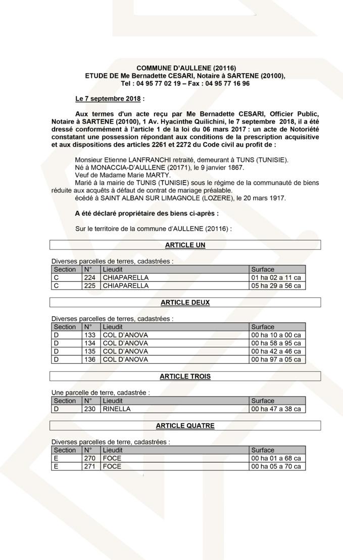 Avis de création de titre de propriété - commune d'Aullène (Corse du Sud)