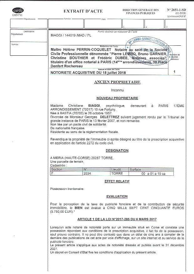 Avis de création de titre de propriété - commune de Meria (Haute-Corse)