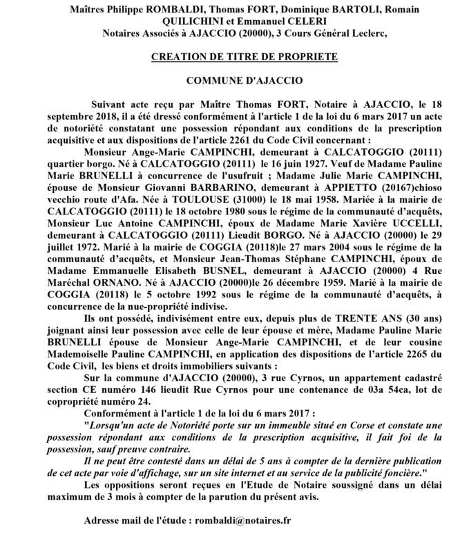 Avis de création de titre de propriété - commune d'Ajaccio (Corse du Sud)