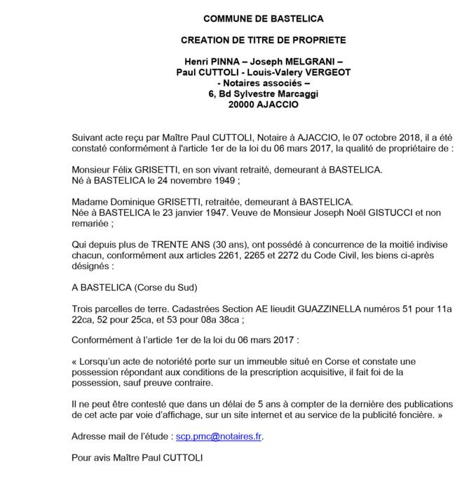 Avis de création de titre de propriété - commune de Bastelica (Corse du Sud)