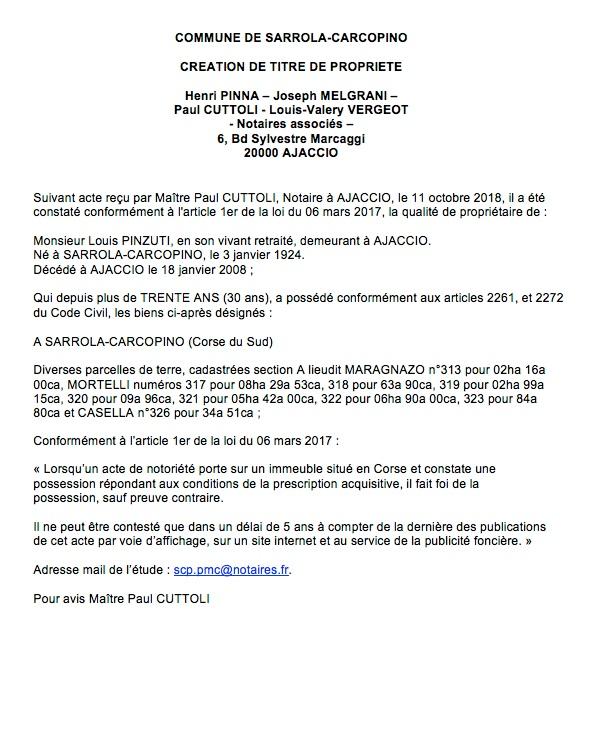 Avis de création de titre de propriété - commune de Sarrola-Carcopino (Corse du Sud)