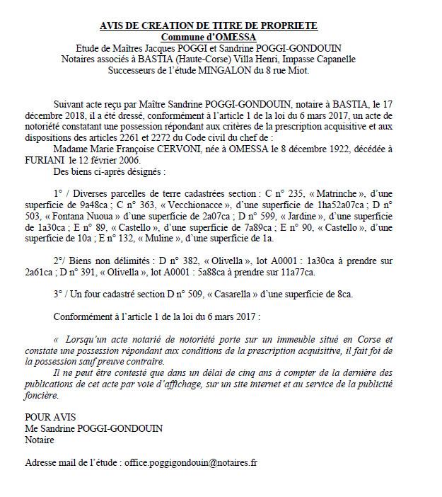 Avis de création de titre de propriété - commune d'Omessa (Haute-Corse)