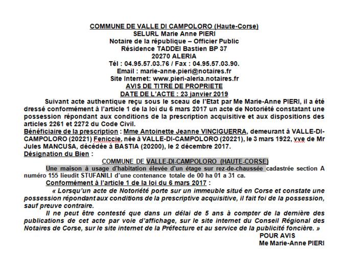 Avis de création de titre de propriété - commune de Valle di Campoloro (Haute-Corse)