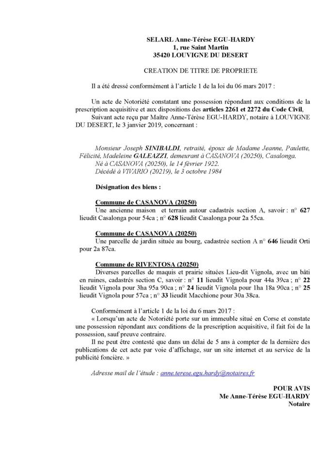 Avis de création de titre de propriété - commune de Casanova (Haute-Corse)