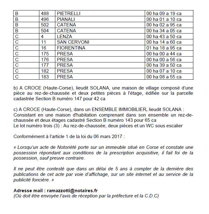 Avis de création de titre de propriété - commune de la Porta et Croce (Haute-Corse)