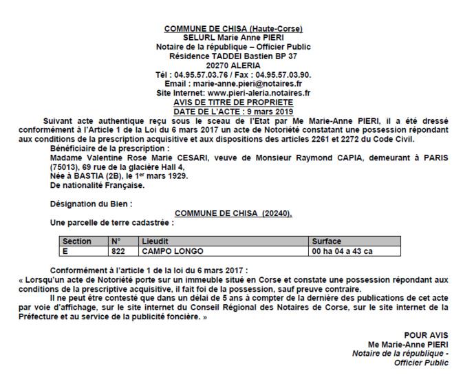 Avis de création de titre de proprieté - commune de Chisa (Haute-Corse)