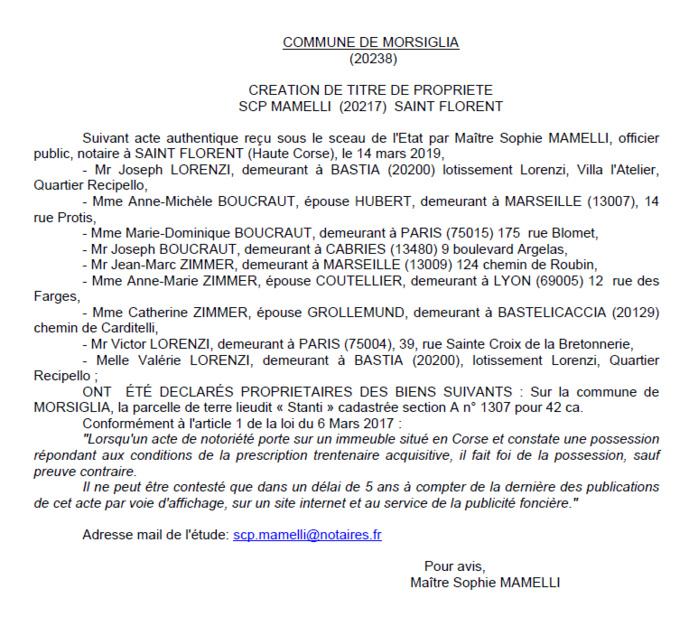 Avis de création de titre de proprieté - commune de Morsiglia (Haute-Corse)