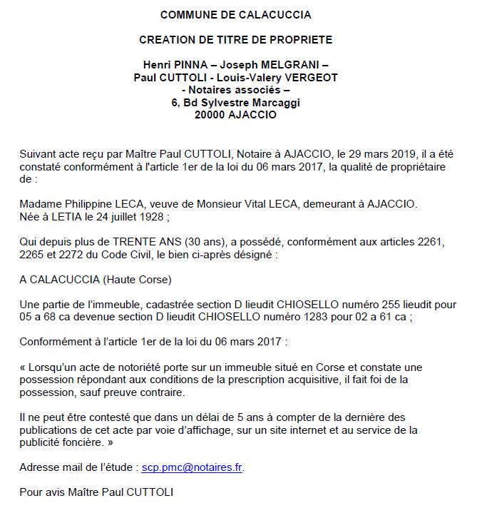 Avis de création de titre de propriété - commune de Calacuccia (Haute-Corse)