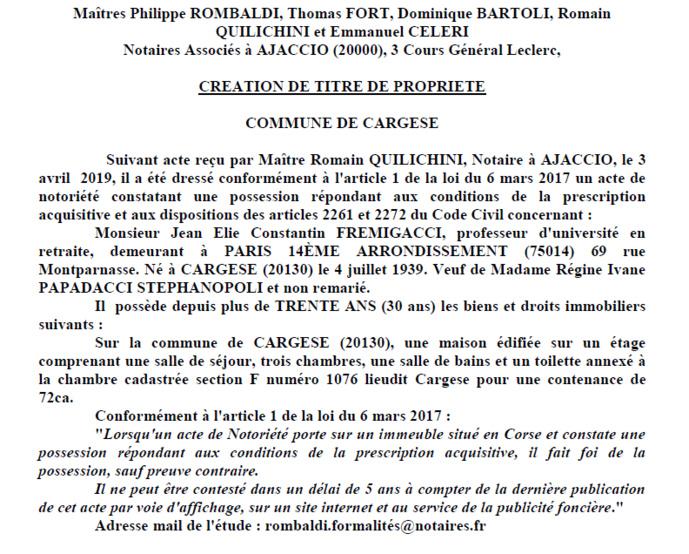 Avis de création de titre de propriété - commune de Cargese (Corse-du-Sud)