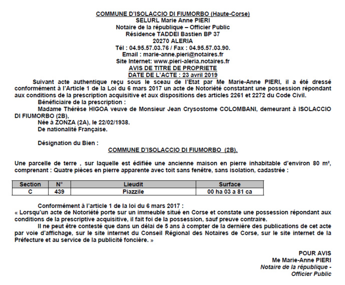 Avis de création de titre de propriété - commune d'Isolaccio di Fiumorbo (Haute-Corse)