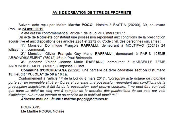 Avis de création de titre de propriété - commune d'Occhiatana (Haute-Corse)